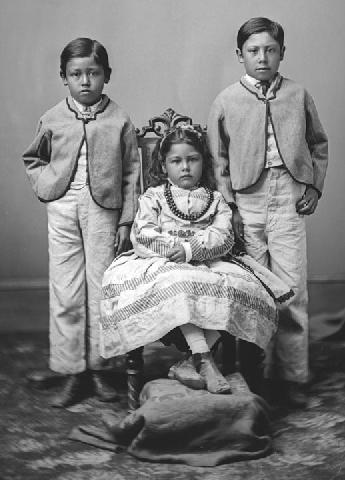 October 1876 portrait of Albert Ah Lina, Eirena Jane and Appo Louis Hocton from the W E Brown Collection