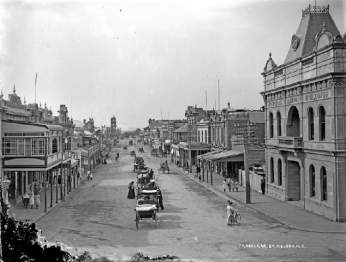 View North up Trafalgar Street from the Church Steps in about 1915.