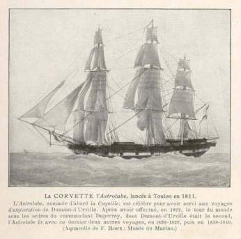 The corvette Astrolabe launched at Toulon, in the South of France, in 1811.