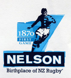 Logo designed by Nelson graphic designer Andy Clover to celebrate New Zealand's first ever game of rugger in 1870.