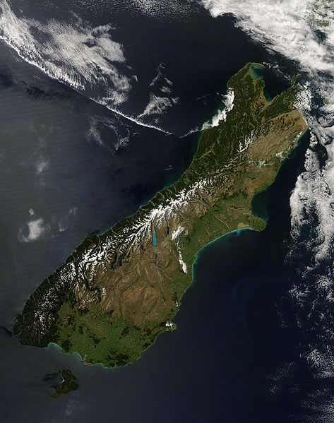 a nearly cloud-free view of the South Island of